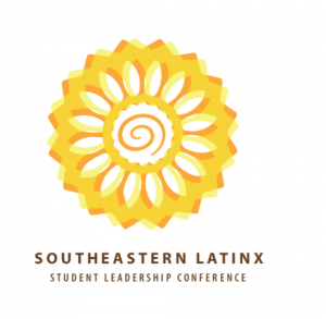 Stylize sunflower in gold and brown with swirl in the middles over the southeastern latinx student leadership conference text